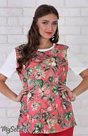 Летняя футболка для беременных Marla р. 44-50 ТМ Юла Мама Цветы на коралловом фоне с молоком LS-26.121