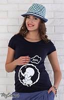 Летняя футболка для беременных Alyva baby р. 44-50 ТМ Юла Мама Индиго LS-26.061