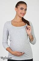 Лонгслив для беременных и кормящих мам Sonya р. 50 ТМ Юла Мама серый NR-36.012
