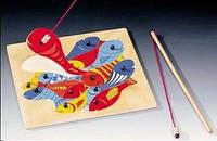 Магнитная рыбалка на две удочки. Деревянная рамка-пазл ТМ Bino, 82737