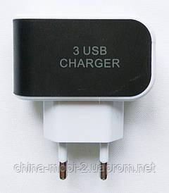 Сетевое зарядное устройство, адаптер на 3 USB,  220V 5V 3*1A  3A