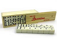 Домино в деревянной коробке 18.5 см х 6.5 см х 4см
