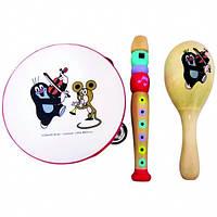 Набор детских музыкальных инструментов Кротик (бубен, флейта, маракас), дерево. ТМ Bino 13754