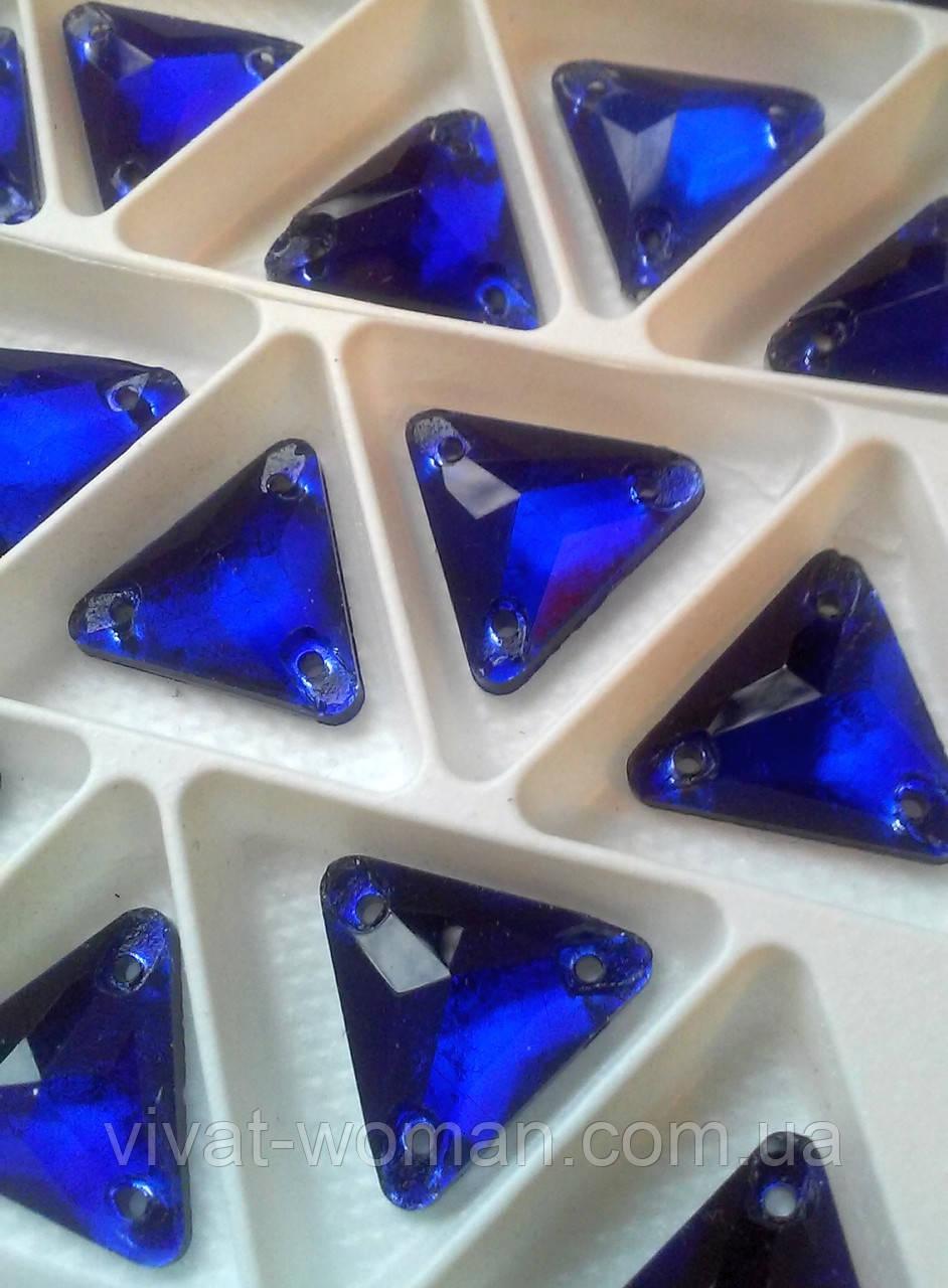 Стразы пришивные Треугольник 12 мм Синий, стекло