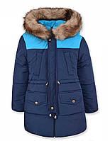 Детская зимняя куртка парка на мальчика темно-синяя, р.110-122