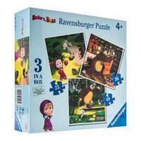 """Набор картонных пазлов """"Маша и медведь"""" для детей от 4 лет (3 пазла на 25, 36, 49 элементов) ТМ Ravensburger 07027R"""