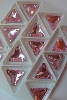 Стразы пришивные Треугольник 12 мм Розовый, стекло