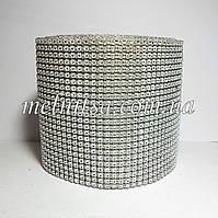 Шина с иммитацией  стразового полотна, стразик в форме цветочка, 25х11,5см, цвет серебро