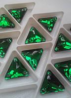 Стразы пришивные Треугольник 12 мм Изумруд, стекло