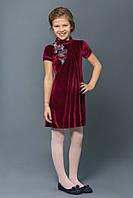 Нарядное бархатное платье для девочки 4-8 лет, р. 110-128, Бордо ТМ Модный карапуз 03-00547-1