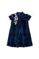 Нарядное бархатное платье для девочки 4-8 лет, р. 110-128 ТМ ТМ Модный карапуз Синий 03-00547-4, фото 1