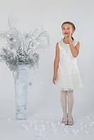 Нарядное новогоднее платье для девочки 5-8 лет с гипюром р. 110-128 Модный карапуз Молочно-кремовый 03-00621-0