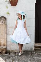 Нарядное платье, болеро и шляпка для девочки от 6 до 10 лет р. 116-140 ТМ Les Gamins 3165-Tiffany