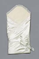 Нарядный демисезонный конверт-одеяло для новорожденного 90*90 см ТМ Модный карапуз Молочный 03-00648-0