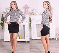 Комплект: женское черное  платье с кофтой
