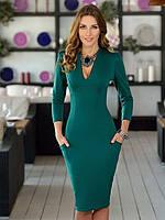 Женское деловое платье с карманами