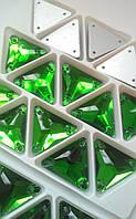 Стразы пришивные Треугольник 16 мм Green, стекло