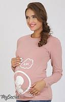 Облегающий лонгслив-реглан Deliya baby для беременных р. 44-50 ТМ Юла Мама пудра LS-36.081