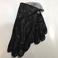 Перчатки мужские замша кожаные  кожаные черные с мехом