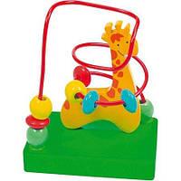 """Пальчиковый лабиринт с бусинками """"Жираф"""" (деревянная игрушка) ТМ Bino 84160"""