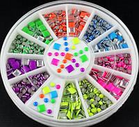 Заклепки в карусельке, кружочки и квадратики (разноцветные)