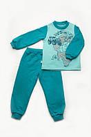 Пижама детская утепленная для мальчика из футера р. 92-122 ТМ Модный карапуз (изумруд-мята) 03-00611-0