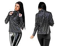 "Элегантная женская нарядная блузка ""Атлас Горох Бант"" в расцветках (103 -5149 )"