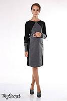 Платье для беременных и кормящих Charlotte р. 44-50 ТМ Юла Мама Черный с серым меланжем DR-15.081