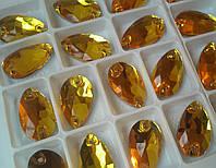 Стразы пришивные Капля 11х18 мм Золото, стекло, фото 1