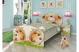 """Ліжко з фотодруком дитяче """"Ведмедик з букетом"""" (90х190 см) ТМ Вальтер-С Венге K3-1.09.37"""