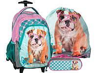Рюкзак с собачкой на колесиках для девочки