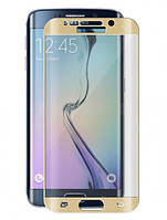 Закаленное защитное 3D стекло (на весь экран) для Samsung G925F Galaxy S6 Edge (Золотое), фото 1