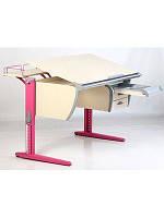 Растущая ортопедическая парта 120х55 см с регулируемой наклонной столешницей СУТ.15 клен/розовый ТМ Дэми