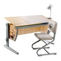 Растущая эргономическая парта 120х55 см с рисунком Фрегат письмен. стол для мальчика СУТ.15 клен/серый ТМ Дэми