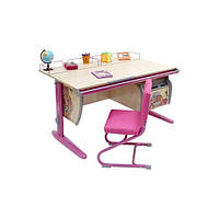 Растущая эргономическая парта 120 см с рисунком Цветы СУТ.15 стол для девочки 5-18 лет ТМ Дэми клен/розовый