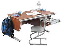 Растущая эргономическая парта 120 см письмен. стол для школьника с наклонной столешницей ТМ Дэми СУТ.15 яблоня