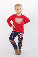 Реглан для девочки 3-8 лет, размер 98-128, Модный карапуз (красный) 03-00566-2