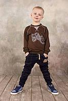 Реглан для мальчика 3-8 лет (коричневый), р. 98-128 ТМ Модный карапуз  03-00569-0