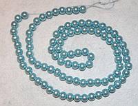Бусина пластиковая 1002  Голубая 8 мм, нить 95-100 бусин