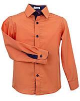 Рубашка Frantolino с длинным рукавом с отделкой для мальчика 9, 11 лет р. 134, 146 Оранжевый 1115-110