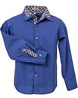Рубашка Frantolino с длинным рукавом с отделкой для мальчика р. 116, 122, 152, 158 Синий 1116-005