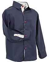 Рубашка Frantolino с длинным рукавом с отделкой для мальчика 9 лет р. 134 Темно-синий 1115-016
