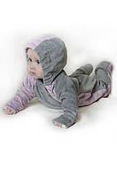 """Слингокомбинезон велюровый """"My baby"""" для девочки 3-9 месяцев, р. 68-74 (человечек) Модный Карапуз Серый с розо"""
