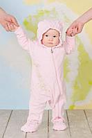"""Слингокомбинезон велюровый """"Мишки"""" 3-9 месяцев, р. 68-74 (человечек, капюшон с ушками) Модный карапуз"""
