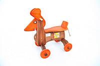 Собака-каталка окрашенная ТМ Руди (деревянная каталка для детей) ДУ018
