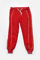 Спортивные брюки для девочки 3-8 лет, размер 98-128, Модный карапуз (красные) 03-00570-2
