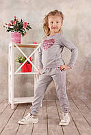 Спортивные брюки для девочки 3-8 лет, размер 98-128, Модный карапуз (серый меланж) 03-00570-0