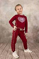 Спортивные брюки для девочки 3-8 лет, размер 98-128, Модный карапуз (бордо) 03-00570-1