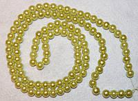 Бусина пластиковая 1004 Светло-жёлтая 8 мм, нить 110-115 бусин