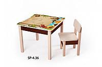 Стол-парта для детей от 1 до 6 лет (60*60*52 cм) ТМ Вальтер-С SP4.36